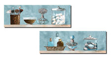 Powder Blue Bathroom Scenes Panels, Two 18x6 Poster Prints