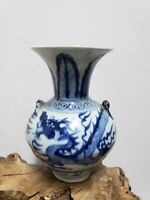 Chinese Blue and White Dragon Pattern Double-Ear Porcelain Vase