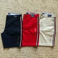 "NWT Tommy Hilfiger Men's THFLEX 9"" Fashion Side Stripe Casual Chino Shorts Al Sz"