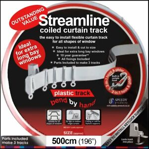 "5mtr (196"") Bendable Straight & Bay Window Coiled Curtain Track Rail PVC"