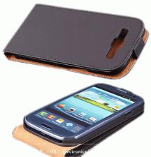 De Lujo Funda cuero negro para Samsung Galaxy S3 i9300 abatible magnético #423