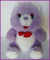 "Purple Plush Bear Red Bow Teddy 8"" Red Felt Tongue Satin Vintage Soft Toy"