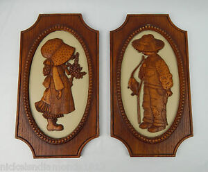 1972 Vintage Holly Hobby Resin 3D Wall Plaques American Greetings Boy & Girl