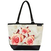 Tasche Henkeltasche Shopper Damen Casual Groß Accessoire Blume Rosen creme