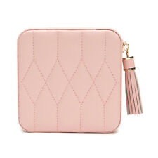 Wolf Caroline Quilted Leather Zip Travel Jewellery Case in Rose Quartz