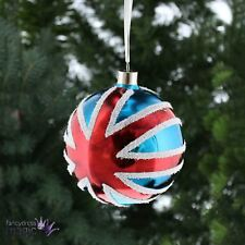 Festivo VINTAGE CRISTAL Bandera Reino Unido BOLAS árbol de Navidad Regalo Hogar