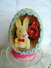 Vintage Handmade Easter Ornament - Real Egg Diorama Bunny w/Greens & Flowers