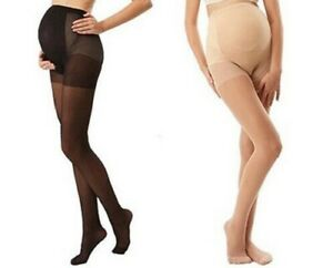 MATERNITY SHEER PANTYHOSE SILKY PREGNANCY TIGHTS BLACK NUDE FREE FAST POST
