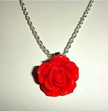 Red Rose Flower Vintage Style Silver Necklace - Beautiful - Gift