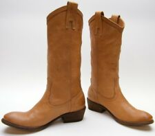 WOMENS FRYE CARSON 77687 TAN BRN LEATHER PULL ON COWBOY WESTERN BOOTS 6.5~1/2 B