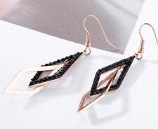 Women Fashion Geometry Tassel Cross Diamond Stainless Steel Stud Earrings S12