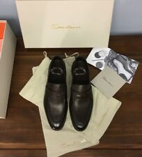 $795 SANTONI **2017** Brown Leather Moc Penny Loafers -FATTE A MANO!! Sz 7EU 8US