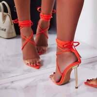 Cape Robbin Nobu Orange Clear Strap Pointed Lace Up Gold Stiletto Heeled Sandal