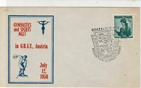 Austria 1956 Gymnastics + Sports Meet Slogan Crest Cancel Stamps Cover ref 22133