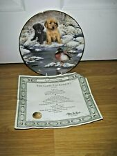 Labrador Puppies Dog Plate ~ Too Close For Comfort ~ Franklin Mint ~ Excellent