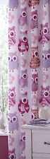"""66"""" by 72"""" Girls Owls Lined Curtains Multi-coloured, Tab Top Hanging"""
