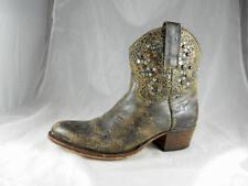 Great  $275 SENDRA Handmade Boots Distressed Rivet Stud Western Short Boot 5 1/2