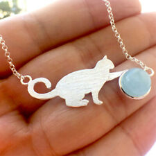 Stone cab silver necklace | *Merzies* Usa | sterling Kitty Cat silhouette, round