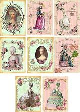 Vintage inspired Marie Antoinette Stationery Cards ATC altered art 8 organza bag