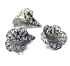 Floral Gunmetal Bead Cap - Pack of 8 pcs