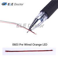 100pcs 0603 1608 Orange Light SMD Pre-Wired LED Diodes Soldered 20cm Length