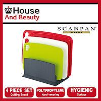 Scanpan Spectrum Polypropylene 4pc Cutting Board Set w/ Standing Chopping Block