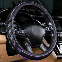 Car Steering Wheel Cover Leather Universal Auto Accessories Purple Black Sporty