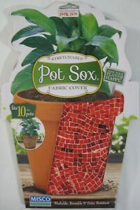 """New Pot Sox Fabric Plant Cover Fits 4 6 8 or 10"""" Flower Pots 6 Designs Available"""