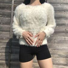 Gap Banana Republic White Ivory Fluffy Fuzzy Sweater Pullover Jumper Size XS