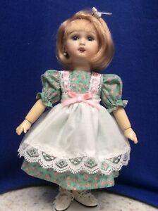 Bleuette Dolls Green & Pink Floral Print Dress & White Batiste Pinafore