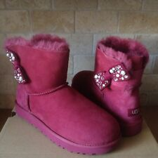 UGG MINI BAILEY BOW BRILLIANT BLING PEARL GARNET SUEDE BOOTS SIZE US 8 WOMENS