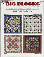 Easy Big Blocks Wall Quilt Collection Foundation Tissue Paper Patchwork Quilting