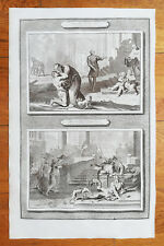 Mortier Original Bible Print The Lost Son, Parable Of Poor Lazarus - 1700