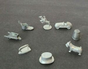 1961 Monopoly Playing Pieces Movers Tokens Car Iron Hat dog horse boot thimble