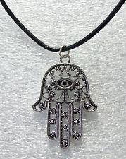 "Hand of Fatima Hamsa Kabbalah Antique Silver-Effect Evil Eye Charm on 19"" Cord"
