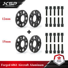 4 Mercedes Benz 5x112 Staggered 15 MM & 12 MM Hub Centric Spacers W/ Lug Bolts