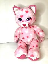 Build a Bear Valentines Cat pink with hearts 2014 retired 18""
