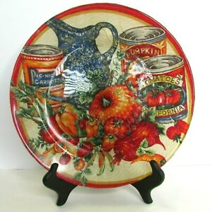 Decorative Glass Plate Fall Harvest Pumpkin Canned Vegetables Country Garden