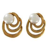 Vintage Gold Tone Spiral Small Stud Button Pierced Earrings 7mm Faux Pearl