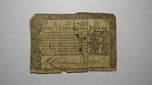 1770 $2/3 Annapolis Maryland MD Colonial Currency Note Bill Revolutionary War