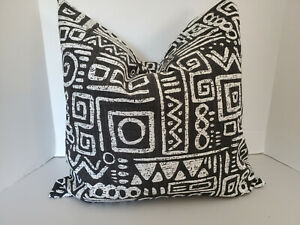 Pillow Cover Tribal Glyphics Decorator Fabric Black and White Choose Size