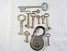 Nice Lot of Antique 'Secure Lever' Pad Lock with a group of 9 vintage keys