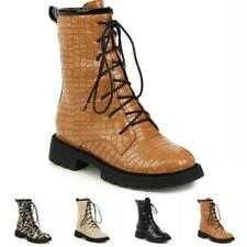 Ladies British Lace Up Ankle Boots Chunky Low Heel Women Motor Goth Punk Shoes D