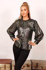 Vintage metallic black gold& silver lurex shirt - disco party SK & COMPANY 8