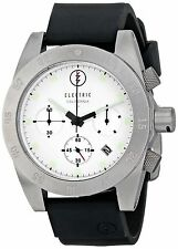 Electric DW01 Men's Chronograph Dive Watch White Dial Black Resin Strap Date New