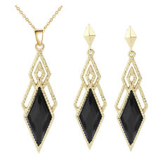 Vintage Style Black Gold Jewellery Set Drop Earrings & Choker Necklace S918