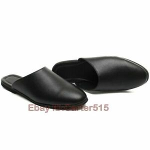 Men's Leather Round Toe Slip On Shoes Street Fashion Casual Slippers Casual Boys