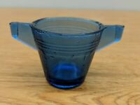 Vintage Akro Agate Small Concentric Ring Cup Mug Cobalt Blue Double Handle