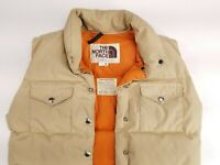 North Face Vtg 90s Brown Label Goose Down Beige Button Puffer Vest Womens Medium