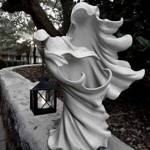 Halloween Resin Ghost Lantern Cracker Barrel Ghost Statue Garden Yard Decoration